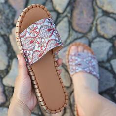Femmes PU Talon plat Sandales Chaussures plates À bout ouvert Chaussons avec Imprimé fleur chaussures