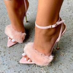 Femmes PU Talon stiletto Sandales Escarpins À bout ouvert avec Bowknot Dentelle Couleur unie chaussures