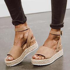 Women's Suede Wedge Heel Sandals Platform Wedges Peep Toe Slingbacks With Buckle Solid Color shoes