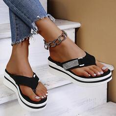 Femmes Suède Talon plat Sandales Tongs Chaussons avec Strass chaussures