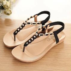 Femmes Similicuir Talon compensé Sandales Chaussures plates À bout ouvert Escarpins avec Brodé Élastique chaussures
