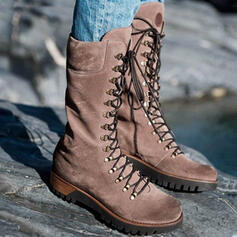 Women's PU Wedge Heel Mid-Calf Boots Martin Boots With Lace-up Solid Color shoes
