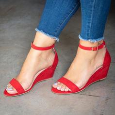 PU Talon compensé Sandales Compensée À bout ouvert Talons avec Boucle chaussures