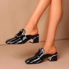 Femmes PU Talon bottier Escarpins Escarpins Chaussons Bout carré avec Boucle Couleur unie chaussures