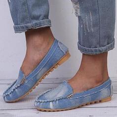 Femmes PU Talon plat Chaussures plates bout rond Flâneurs Glisser sur avec Velcro Couleur unie chaussures