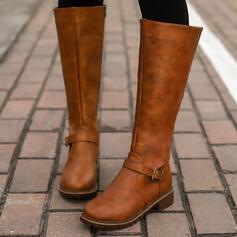 Femmes PU Talon bottier Bottes cavalières bout rond avec Boucle Zip Couleur unie chaussures