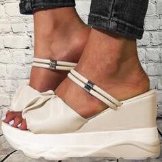 Femmes PU Talon compensé Sandales Compensée À bout ouvert Chaussons Talons bout rond avec Plissé Plissé Chaîne Couleur unie chaussures