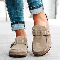 Femmes Suède Talon plat Chaussures plates Slide & Mules Mules avec Boucle chaussures