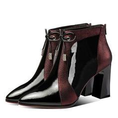 Femmes PU Talon bottier Bottines Low Top Bout pointu avec Strass Bowknot Zip Couleur d'épissure chaussures