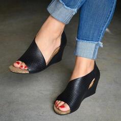 Femmes PU Talon compensé Sandales Compensée À bout ouvert Talons avec Zip Ouvertes chaussures
