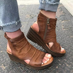 Femmes PU Talon compensé Sandales Plateforme Compensée À bout ouvert Talons avec Zip Couleur unie chaussures