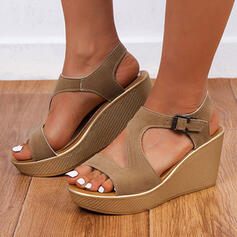 Femmes Similicuir Talon compensé Sandales Plateforme Compensée À bout ouvert avec Boucle Ouvertes chaussures