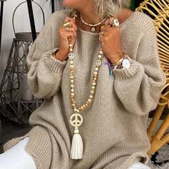 élégant Bohème Natural Stone Cristal String coton Perles en bois avec Glands Perles Colliers