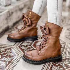 Femmes PU Talon bottier Bottines Martin bottes bout rond avec Dentelle Couleur d'épissure chaussures