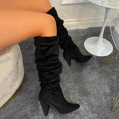 Women's Leatherette Chunky Heel Boots With Ruched Solid Color shoes