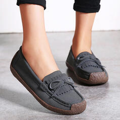 Femmes Suède Talon plat Chaussures plates bout rond Glisser sur avec Bowknot Tassel chaussures