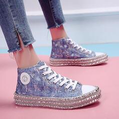 Femmes Toile Talon plat Chaussures plates Haut haut Espadrille Tennis avec Rivet chaussures