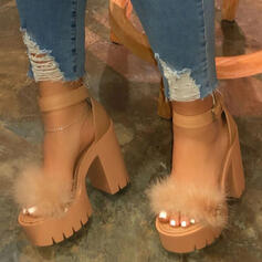 Women's Leatherette Chunky Heel Sandals Pumps With Feather shoes