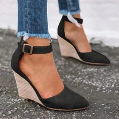 Women's Leatherette Wedge Heel Pumps Closed Toe Wedges Pointed Toe With Buckle Solid Color shoes