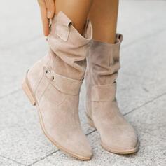 Femmes Suède Talon bottier Bottes Bottes mi-mollets Bout pointu avec Boucle Zip Couleur unie chaussures