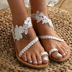 Femmes Similicuir Talon plat Sandales Chaussures plates Anneau d'orteil avec Couture dentelle Une fleur chaussures