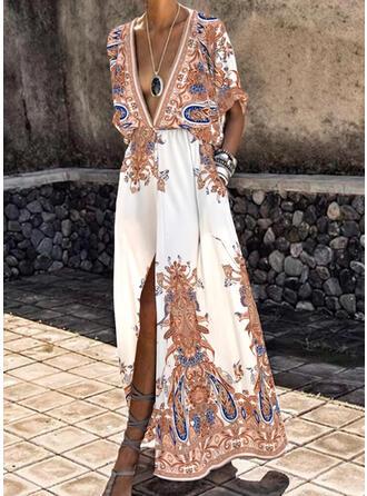 Imprimée Manches 1/2 Trapèze Patineuse Vintage/Décontractée/Bohème/Vacances Maxi Robes