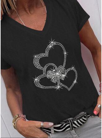 Cœur Paillettes Col V Manches Courtes T-shirts