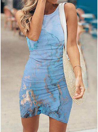 Print Sleeveless Sheath Above Knee Casual Dresses