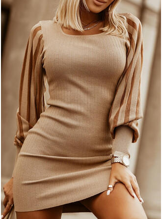 Solid Knit Long Sleeves Puff Sleeve Bodycon Above Knee Elegant Sweater Dresses