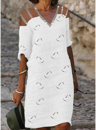Imprimée/Paillettes/Cœur Manches 1/2 Droite Longueur Genou Décontractée Tunique Robes