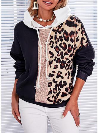 Print Color Block Leopard Hooded Long Sleeves Hoodie