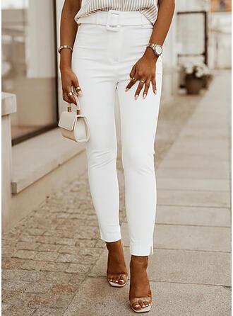 Solid Denim Long Casual Elegant Plus Size Pocket Denim & Jeans