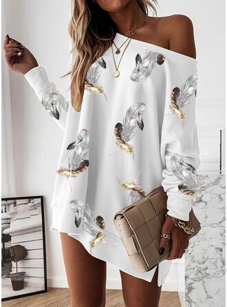 Print Long Sleeves Dropped Shoulder Shift Above Knee Casual Sweatshirt Dresses