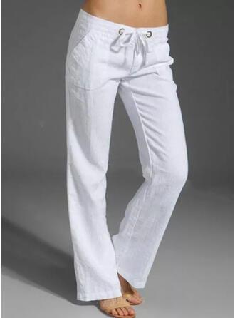 Couleur Unie Grande taille Cordon Décontractée Plaine Pantalons de détente