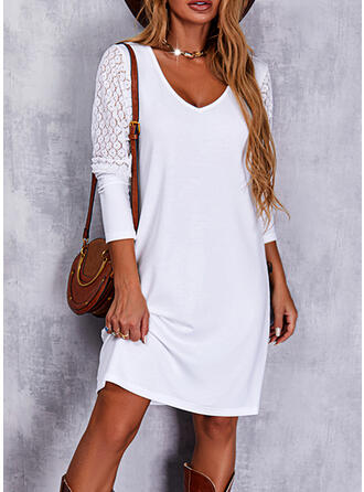 Solid Lace Long Sleeves Shift Above Knee Casual Tunic Dresses