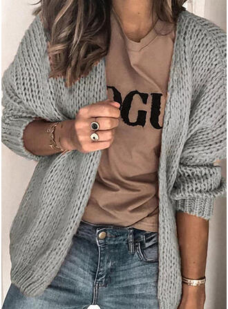 Polyester Manches longues Solid Gros tricot