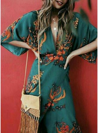 Print/Floral 3/4 Sleeves Sheath Elegant/Vacation Midi Dresses