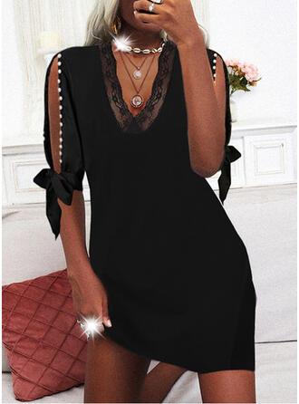 Solid Lace 1/2 Sleeves Cold Shoulder Sleeve Sheath Above Knee Little Black/Elegant Dresses