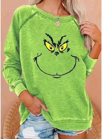 Christmas Print Round Neck Long Sleeves Christmas Sweatshirt