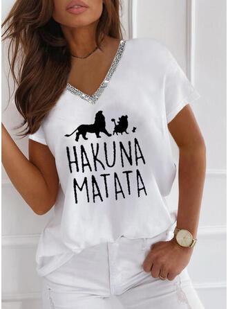 Imprimé Animal Paillettes Letter Col V Manches Courtes T-shirts