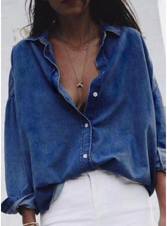 Solid Lapel Long Sleeves Button Up Casual Denim Shirt Blouses
