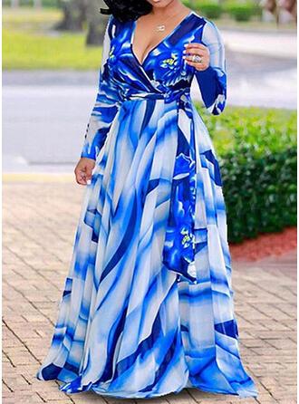 Grande taille Imprimé Manches Longues Robe trapèze Maxi Décontractée Vacances Robe