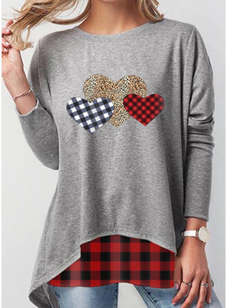 Grid Leopard Heart Round Neck Long Sleeves Sweatshirt