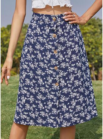 Polyester Inmprimé Floral longueur au genou Jupes trapèze