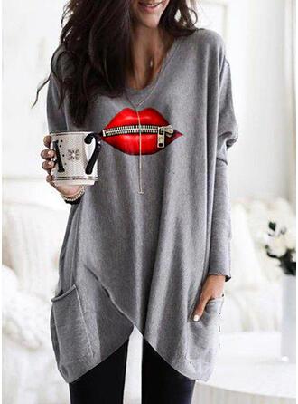 Print Round Neck Long Sleeves Sweatshirt