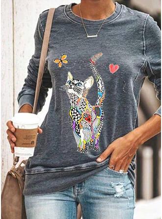 Motif Animal Cœur Col rond Manches longues Sweat-shirts