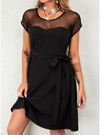 Solid Short Sleeves A-line Above Knee Little Black/Elegant Skater Dresses
