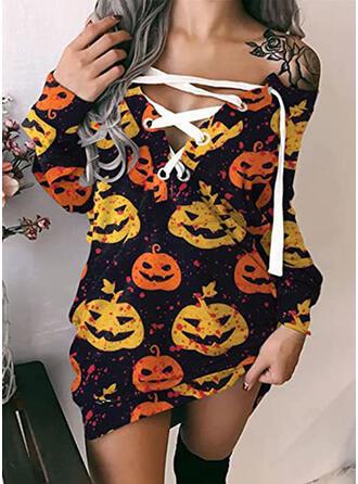 Halloween Print Long Sleeves Sheath Above Knee Casual Dresses