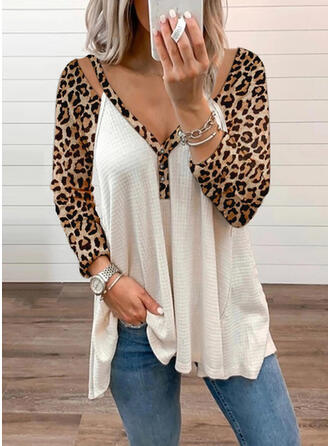 Leopard Knit V-Neck Long Sleeves Raglan Sleeve Casual Blouses