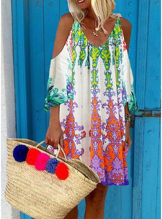 Imprimée Manches 3/4 Droite Au-dessus Du Genou Bohème/Vacances Tunique Robes